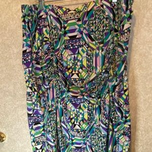 Anna Sholz ruched print  skirt 14 pull on